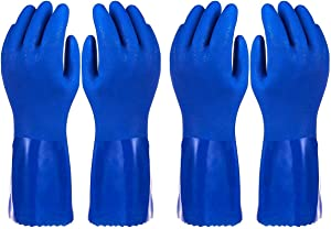 Rubber Household Gloves - Cotton Lined Dishwashing Kitchen Gloves (2 Pair, X-Large)