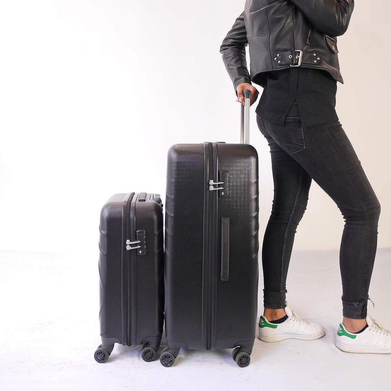 Valise Cabine 2 Valises Coque ABS et Cadenas TSA Int/égr/é Coloris Noir Set de Valises Clipsables Entre Elles Syst/ème Brevet/é Valise Long S/éjour Urgo