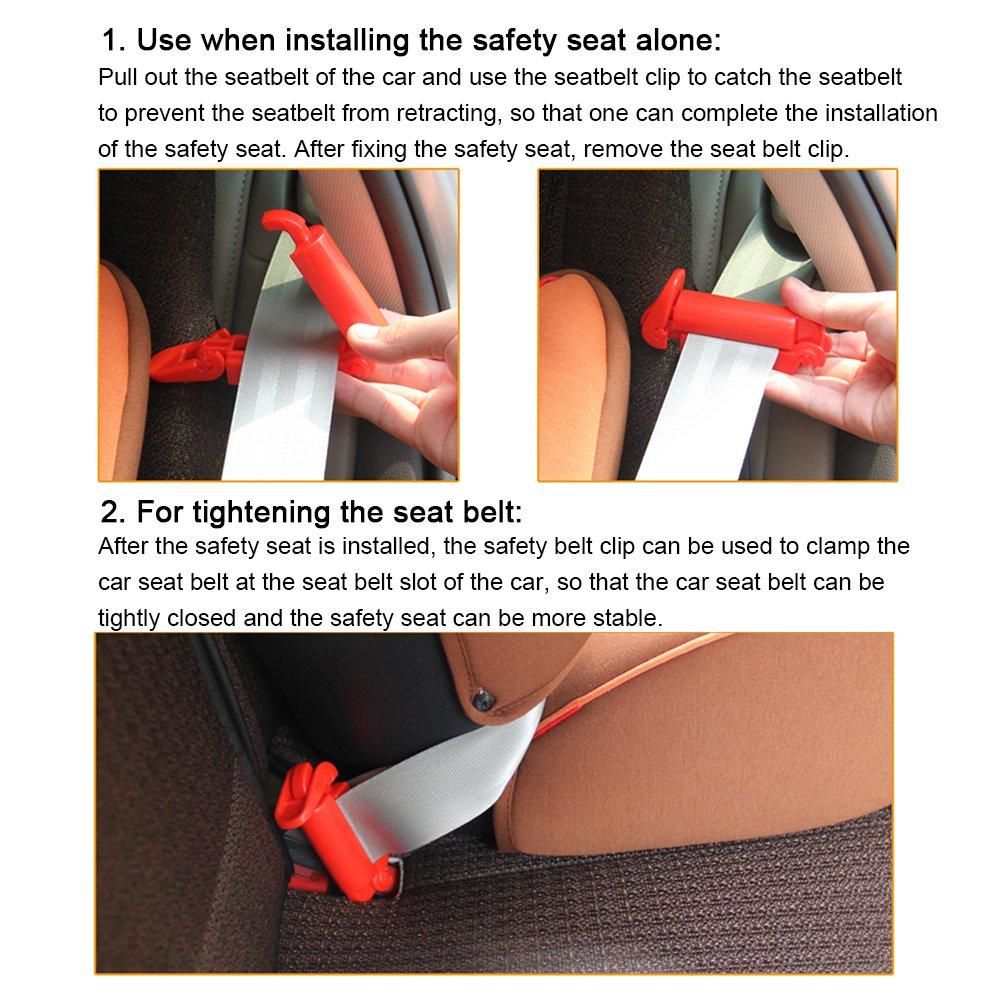 TUPSKY Fibbia per cintura di sicurezza per tenditore bambino TITE universale Clip per cintura pettorale e cintura di sicurezza per seggiolino auto per bambini rosso + nero