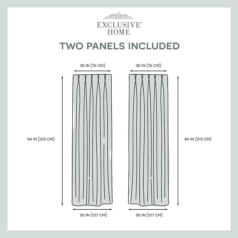 Exclusive Home Belga Textured Linen Look Jacquard Sheer Finestra Tenda a Pannello Coppia con Plissettato Top 84/x 50/x 0.2/cm Fiocco di Neve Poliestere