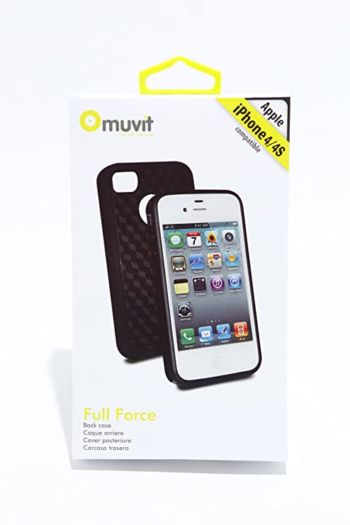 Amazon.com: Muvit Full Force Case - iPhone 4/4S Black/Blue ...
