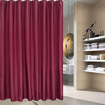 Solid Burgundy Shower CurtainsMildew Resistant Waterproof Polyester Fabric Curtain For Bathroom With Metal Grommets Standard Size 180 X 180CM