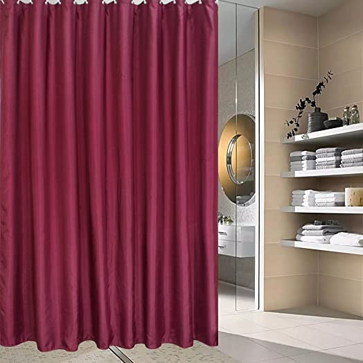 Solid Burgundy Shower Curtains, Polyester Shower Curtain For Bathroom With  Metal Grommets,Non