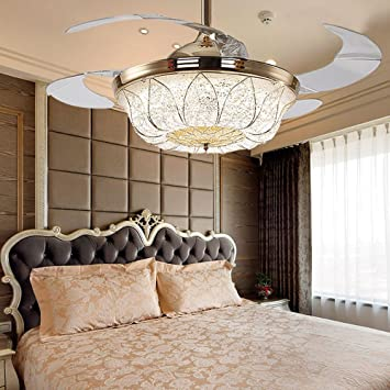 fans for living room. COLORLED Modern Simple American 42 Inch French Gold Invisible Ceiling Fans  Living Room Lamp Restaurant