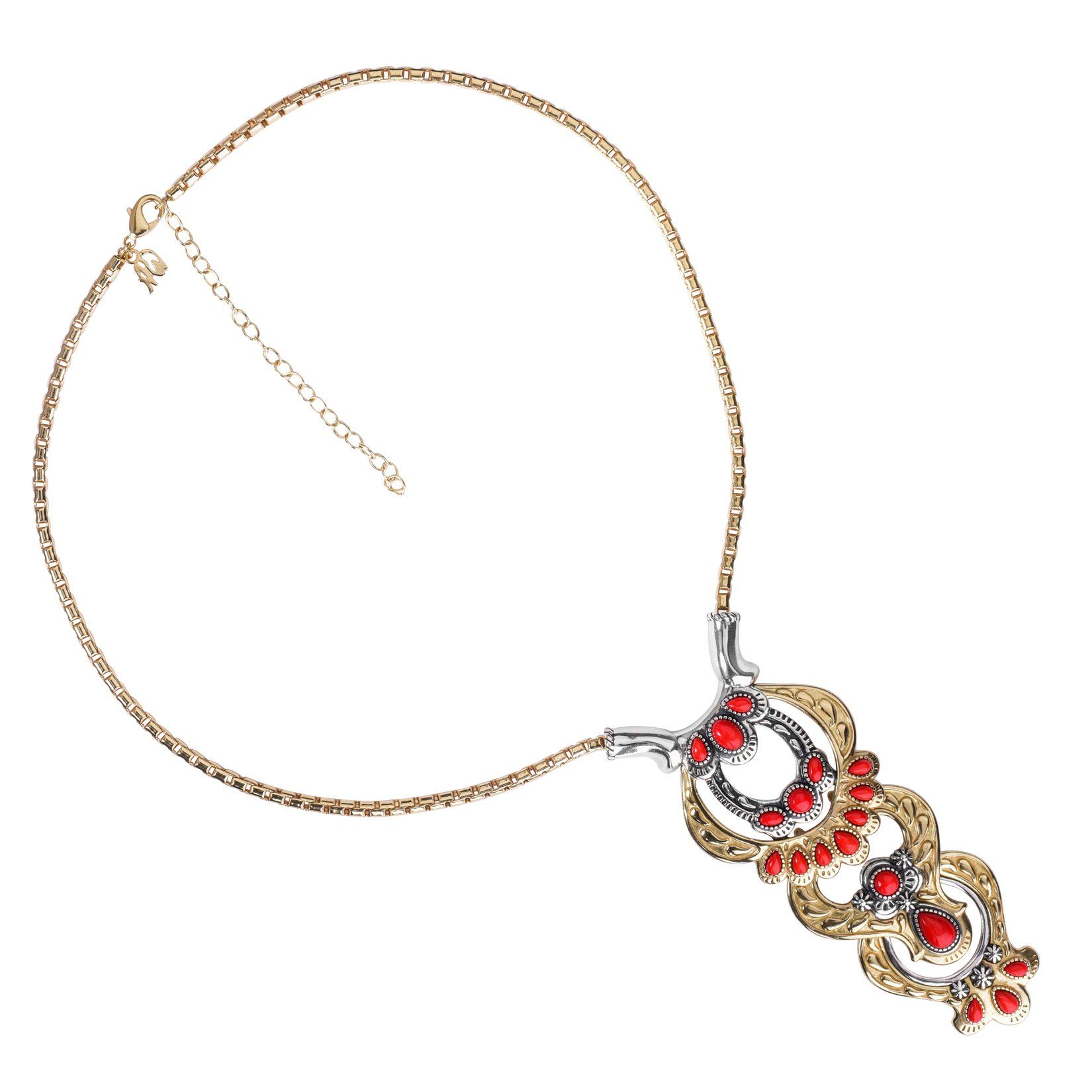 Sterling Silver, Brass and Red Coral Necklace with Removable Stations by American West (Image #5)