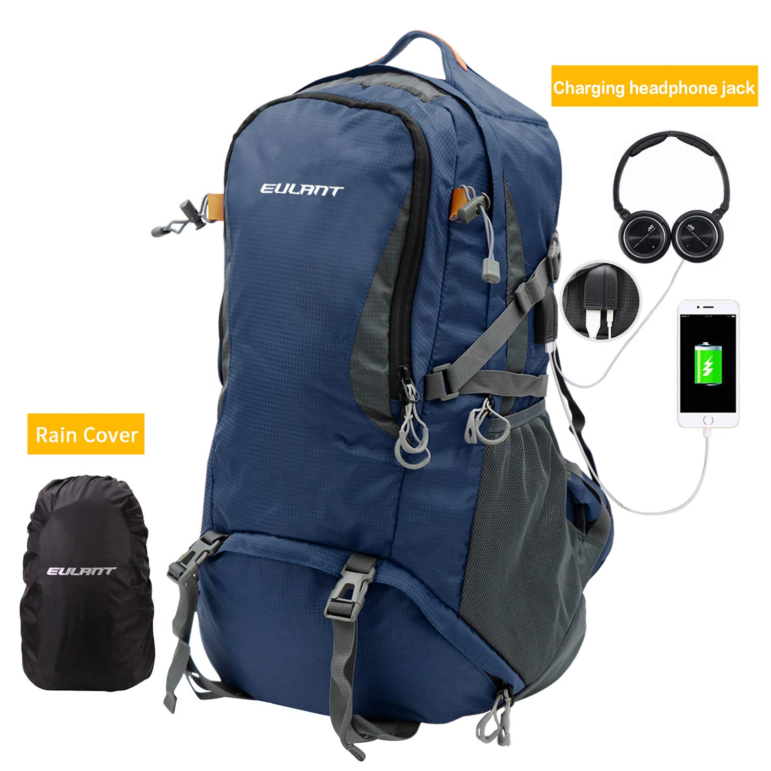 Water Resistant Packable for Climbing Camping Touring Mountaineering 50L 60L Lightweight Packable Travel Hiking Backpack Anti-Theft College Backpack with USB Charging Port EUALNT 40L