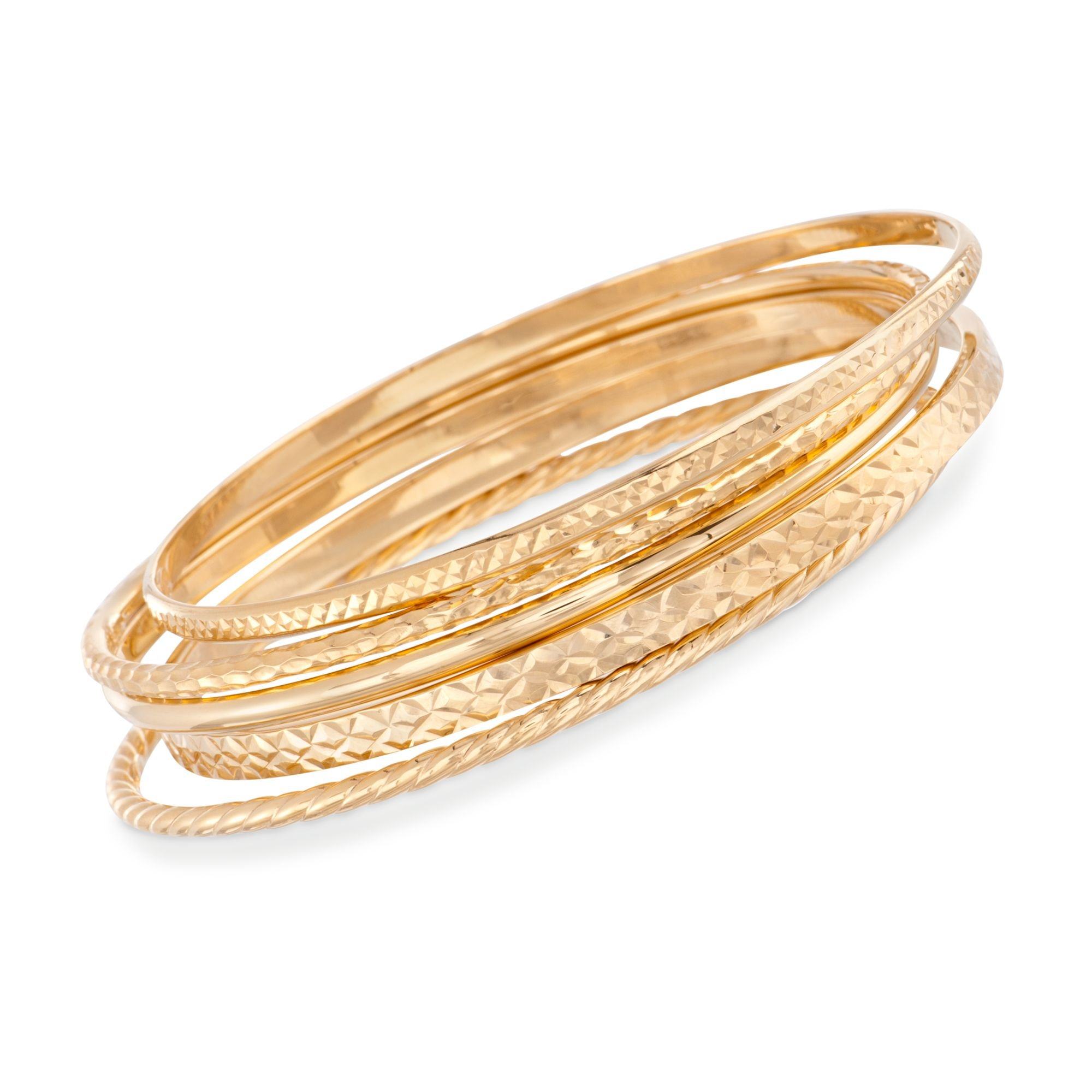 Ross-Simons 18kt Gold Over Sterling Jewelry Set: Five Textured Bangle Bracelets