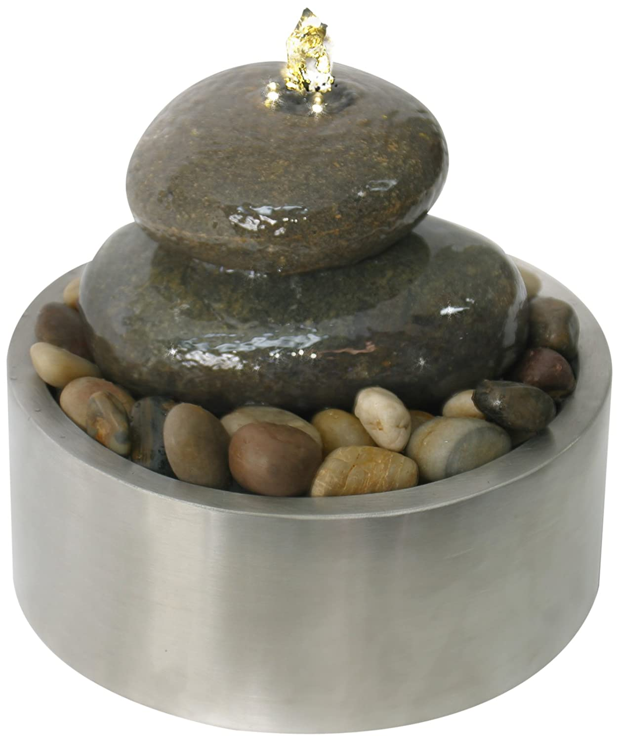 Roll over image to zoom in Algreen Algreen Illuminated Relaxation Fountain with Authentic River Rocks and Stainless Steel Base