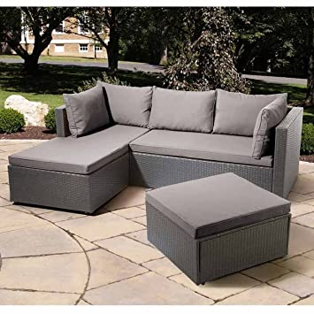 Loungemöbel outdoor wetterfest  Amazon.de: OUTLIV. Balkonlounge Polyrattan Basel - Sonderedition ...