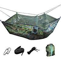Double Hammock with Mosquito - Lightweight Portable Parachute Camping Hammocks, Mosquito Nylon Hammock for Indoor…