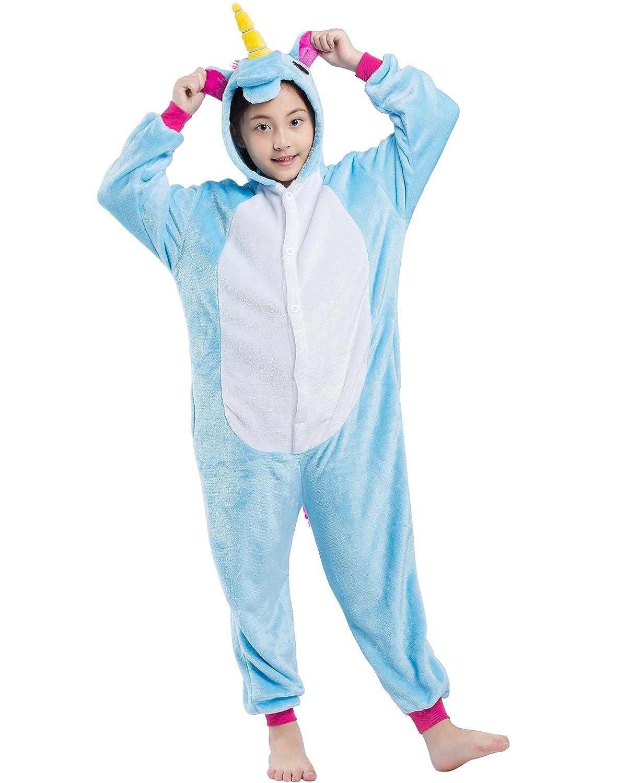 Magicmode Unisex Children Cartoon Unicorn One Piece Onesie Pajamas Cosplay Costume