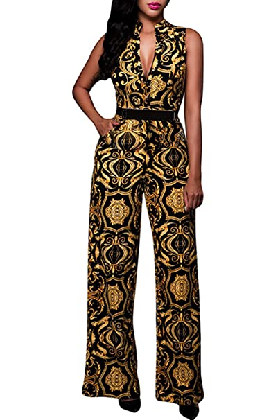 70s Jumpsuit | Disco Jumpsuits, Sequin Rompers Pink Queen Womens Button Up Printed Long Wide Leg Pant Party Jumpsuits with Belt $32.99 AT vintagedancer.com