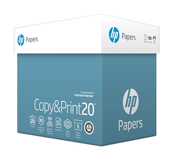 HP Printer Paper, Copy and Print20, 8.5 x 11 Paper, Letter Size, 20lb Paper, 92 Bright, 2,500 Sheets / 5 Ream Carton (200350C) Acid Free Paper