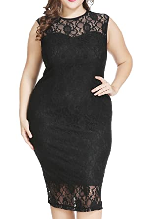 Plus Size Formal Lace Sheath Midi Dress For Cocktail Evening Wedding