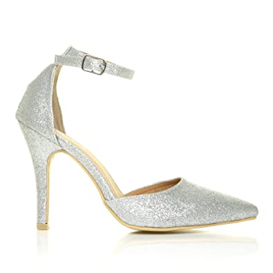 12308521639 New York Silver Glitter Ankle Strap Pointed High Heel Court Shoes   Amazon.co.uk  Shoes   Bags