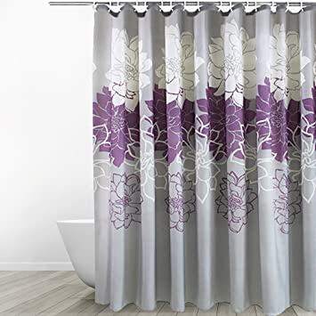 Eforgift 54 Inch By 78 Floral Printed Fabric Shower Curtain Polyester Waterproof