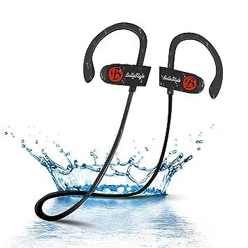 BELLESTYLE Auriculares Bluetooth, IPX7 Waterproof In Ear Wireless 4.1 Auriculares Headsets Estéreo Auriculares Deportivos a Prueba de Golpes con Micrófono ...