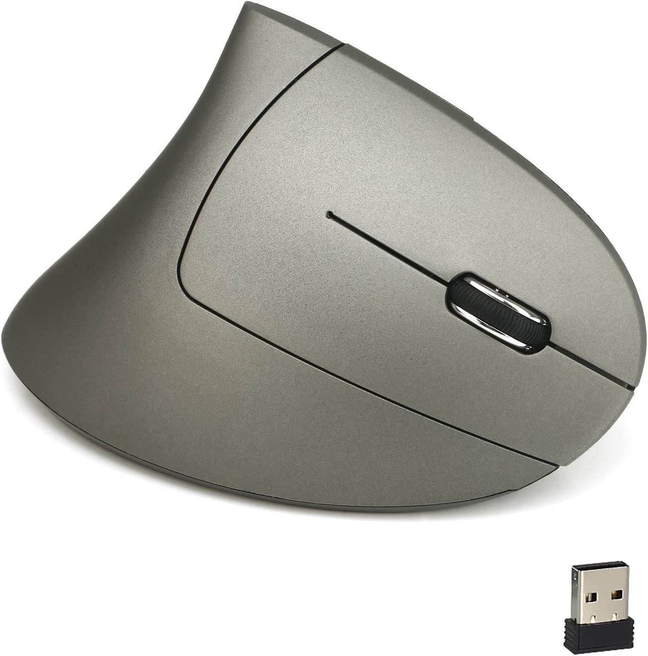 Adjustable Sensitivity 800//1600// 2400DPI,Recharge,Compatible with Mac,4.92x3.22x2.55 inches Grey 2.4G Vertical Ergonomic Mouse Wireless USB Optical Mouse Handshake Mouse with USB Receiver