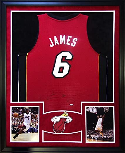 info for 7d141 026bf Lebron James Miami Heat Autograph Signed Custom Framed ...