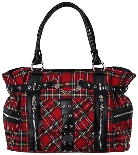b5fafb6482690 Banned Handtasche kariert rot  Amazon.de  Schuhe   Handtaschen