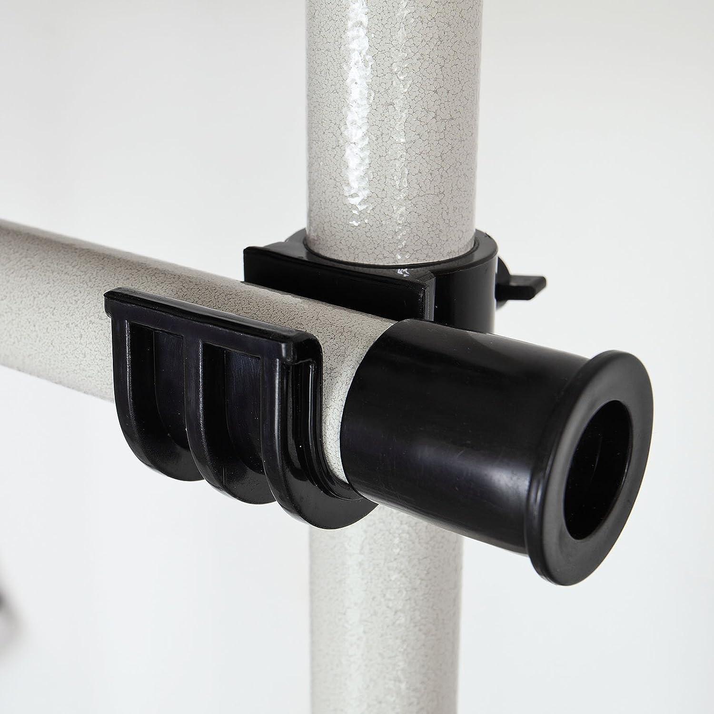 SoBuy FRG34 Regalsystem mit 3 K/örben und 3 Kleiderstangen Teleskop Garderoben System Verstellbares Ordnungssystem