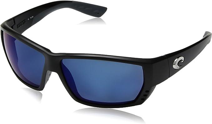 Costa Del Mar Tuna Alley Matte Black Frame Blue Mirror 580G Glass Polarized Lens