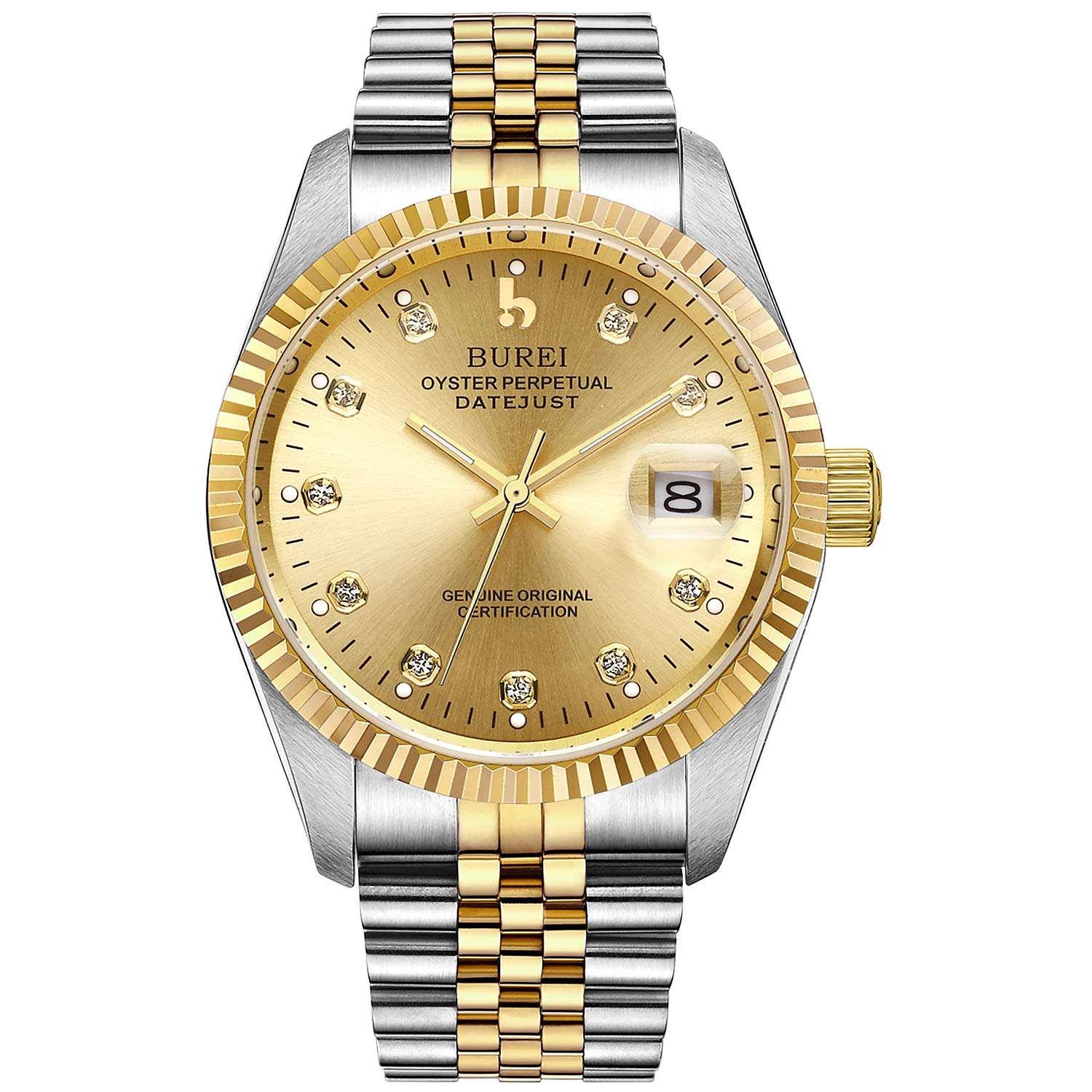 e007aab2044 BUREI Mens Automatic Self Winding Watch Elegant Casual Mechanical Gents  Watch Jeweled with Sapphire Glass and Date Calendar (Gold)  Jay Allen   Amazon.co.uk  ...