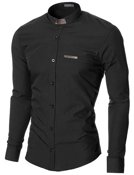 MODERNO - Cuello Mao Camisa para Hombre (MOD1427LS)  Amazon.es  Ropa y  accesorios ed402d8062b