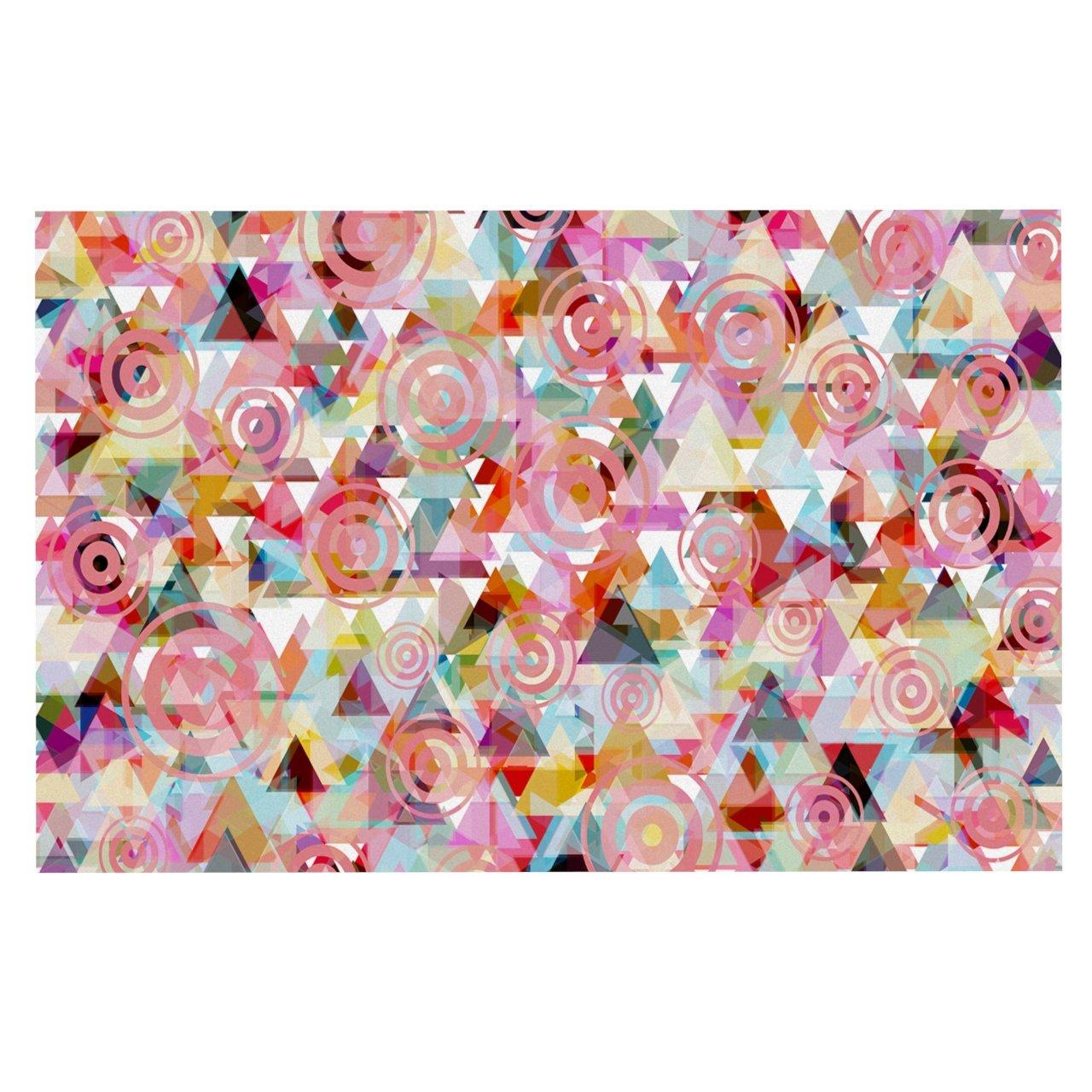 KESS InHouse SC2065ADM02 Suzanne Carter Geo Pink Multicolor Dog Place Mat, 24  x 15