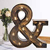 Oycbuzo Golden Black Led Marquee Letter - Industrial, Vintage Style Light Up Alphabet Letter Sign for Cafe Wedding…
