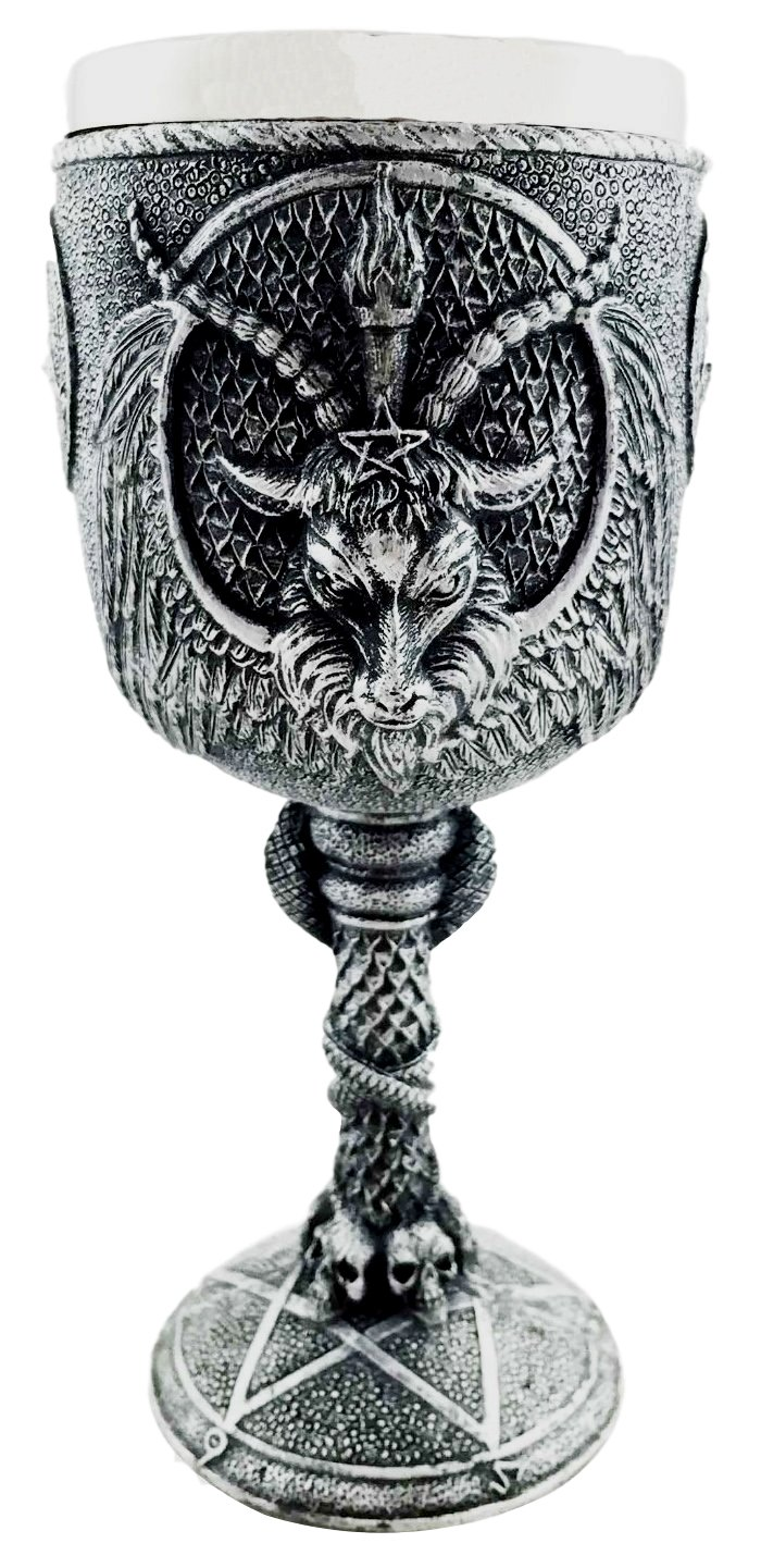 Dark Satanism Occultic Sabbatic Goat Baphomet Wine Drink Goblet Chalice Figurine