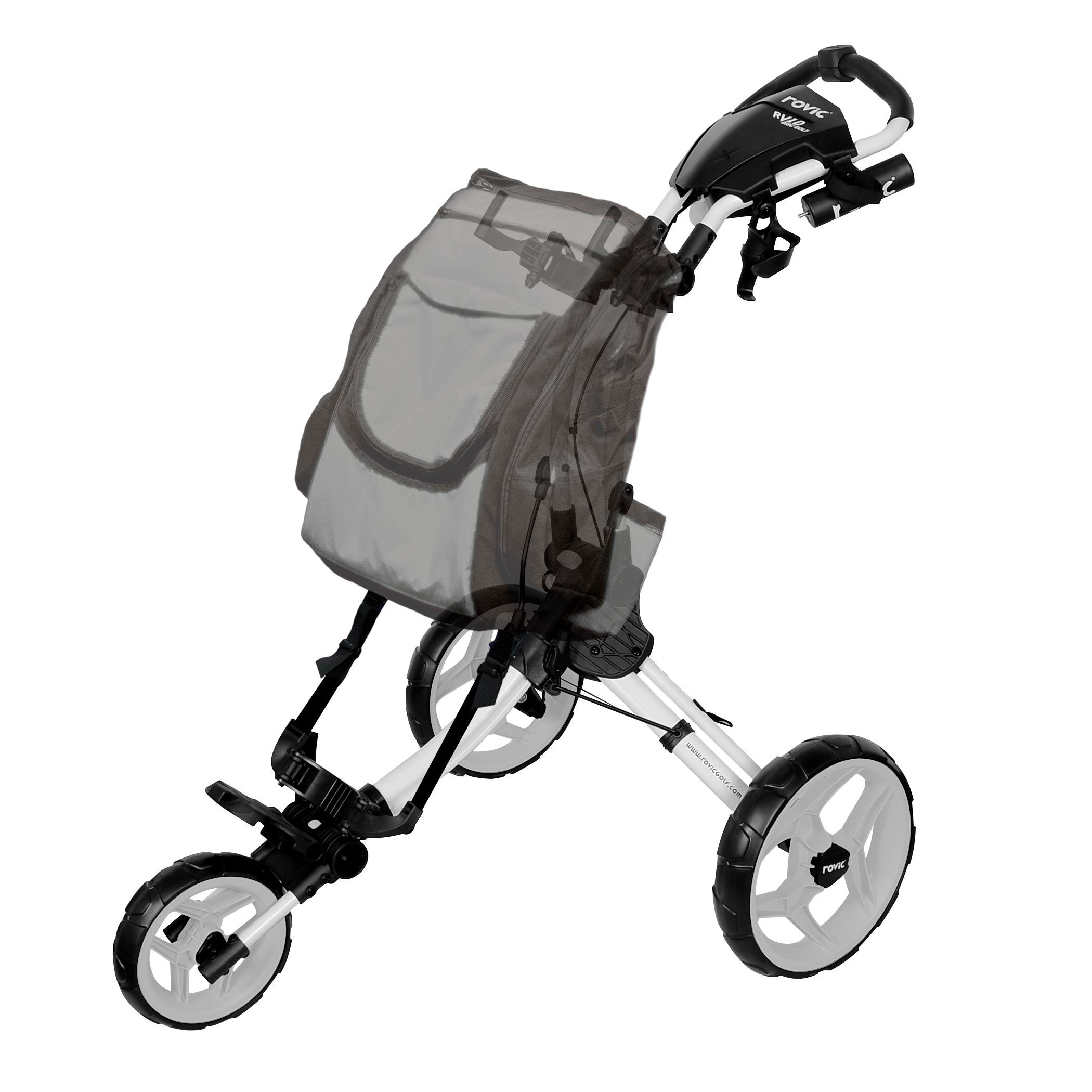 Rovic RV1D 3-Wheel Disc Golf Push Cart | Fits All Disc Golf Backpacks (Arctic/White)