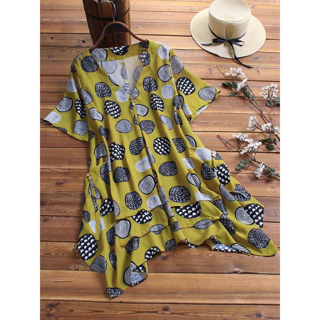 Behkiuoda Women V-Neck Short Sleeve Mini Dress Summer Plus Size Loose Print Outdoor Causal Dress