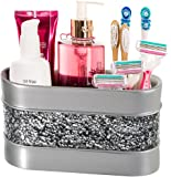 Brushed Nickel Bathroom Organizer, Cosmetic Organizer, 3-Compartments Vanity Organizers- Countertop Makeup Brushes Caddy/ Hair Accessories Storage- Decorative Bath Organization- Gift Packaged