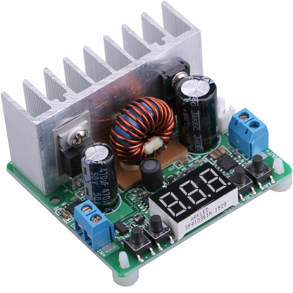Step Down Voltage Regulator Board, Yeeco Numerical Control Buck Converter DC 6-40V 32V 24V to 0-38V 5V 9V 12V 8A NC Digital Adjustable Power Supply Module with LED Voltmeter & Heatsink Fan