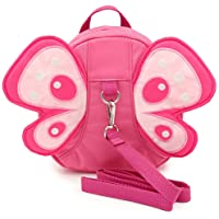 Hipiwe Butterfly Baby Walking Safety Backpack Anti-lost Mini Bag Toddler Child Strap Backpack with Safety Leash (Pink)
