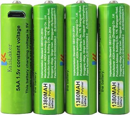 Amazon Com Kaislaker Pilas Aaa De 1 5 V 1380 Mah Recargables De Litio Triple A Puerto De Carga Micro Usb 4 Unidades Con Cable De Carga Usb Cualquier Entrada De 5 V
