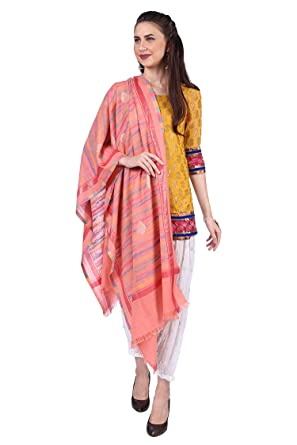 3df50822d ... Wool Printed Pink Stylish Wedding Stoles Scarves for Womens Girls  Ladies Designer Traditional Trendy Winter Scarfs: Amazon.in: Clothing &  Accessories