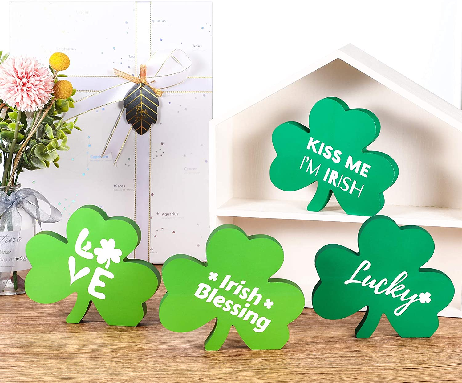 Jetec 4 Pieces St. Patrick's Day Wooden Shamrock Decorations Shamrock Wooden Signs Irish Themed Wooden Table Signs for Desk, Wall, Office and House Decor