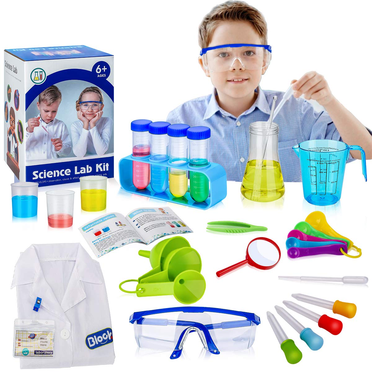 X TOYZ Kids Science Experiments Kit STEM Toys with 29-Piece Lab Tools for Scientist Costume Dress Up Including Lab Coat, Funnels, Testing Tubes,Measuring Spoon, Safety Glasses and More