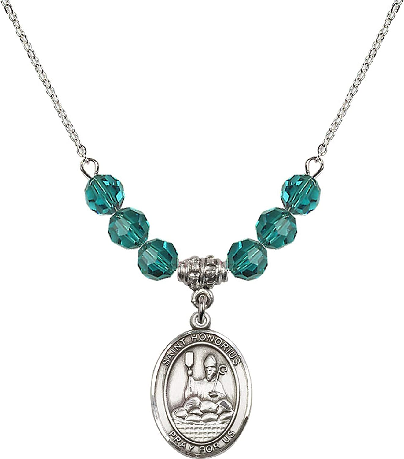 Bonyak Jewelry 18 Inch Rhodium Plated Necklace w// 6mm Blue December Birth Month Stone Beads and Saint Honorius of Amiens Charm