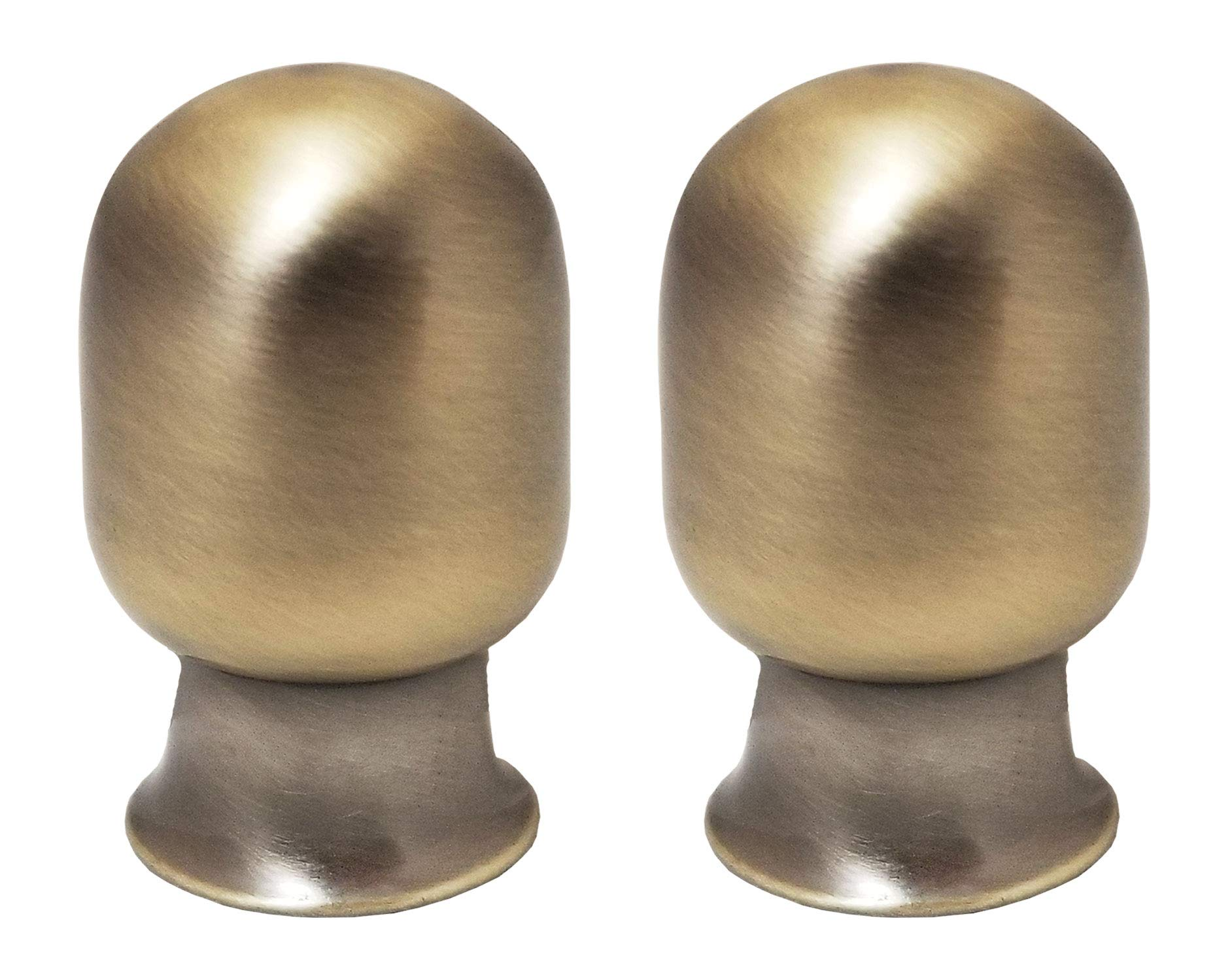 Royal Designs F-7002AB-2 Top Rounded Cylindar Finial, Antique Brass, Set of 2