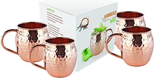 Hammered Moscow Mule Mug Drinking Cup 100/% Pure Solid Copper 16 Oz