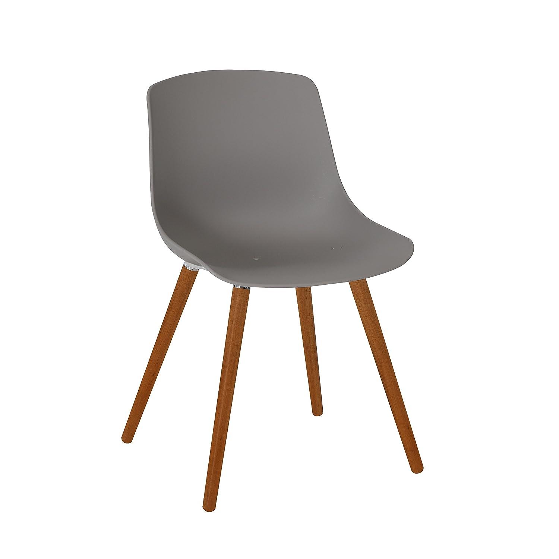 greemotion 129503 Gartenstuhl Halifax aus Kunststoff in Grau-Stuhl mit Holzbeinen für Garten, Balkon & Terrasse-Gartensessel im Retro Look-Lounge Sessel modern, 5,2 x 6 x 8 cm
