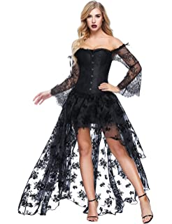 Costour Damen Schwarzer Engel Hexe Cosplay Kostum Kleid Karneval