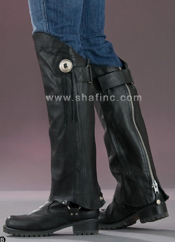 Shaf Motorcycle Biker Leather Half Chaps (XL/2X) SH1199