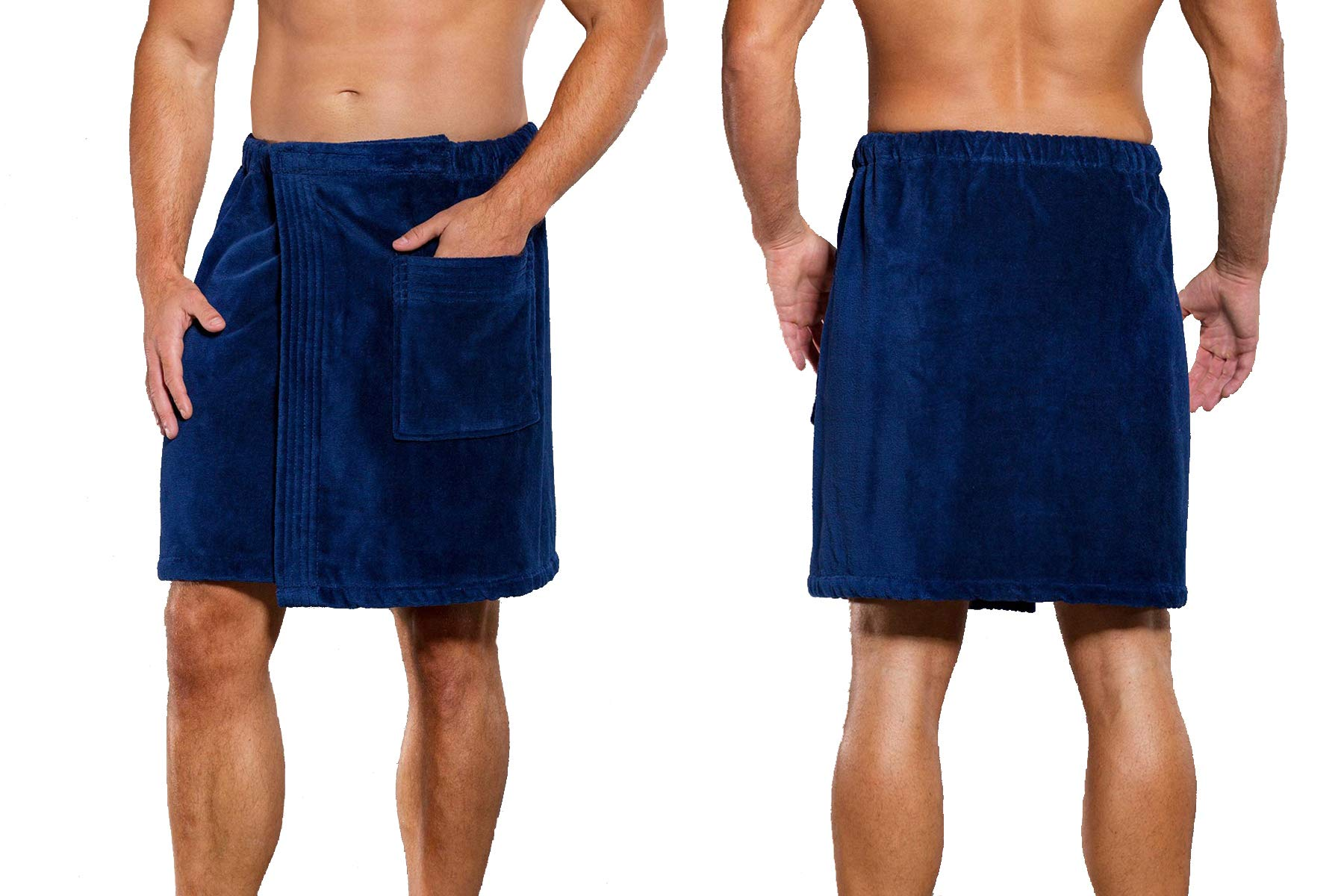 anatolian Men's Adjustable Wrap Around Body Towel for Bath Gym Spa/Cotton - Made in Turkey (2 Pack Navy Blue)