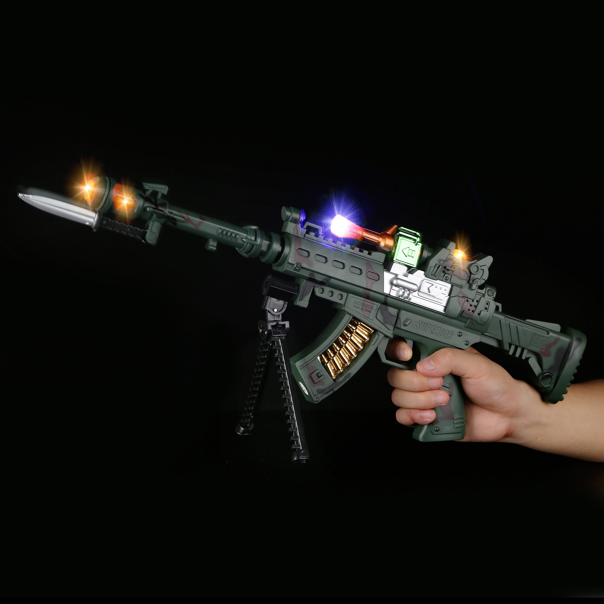 Fun Central AU050 21 Inch LED Light Up Sniper Rifle with Shooting Sounds, LED Sniper Toy Gun - for Christmas Party, Birthday Party, Costume Party, Themed Party,Party Favors, Gifts, Prizes, Rewards