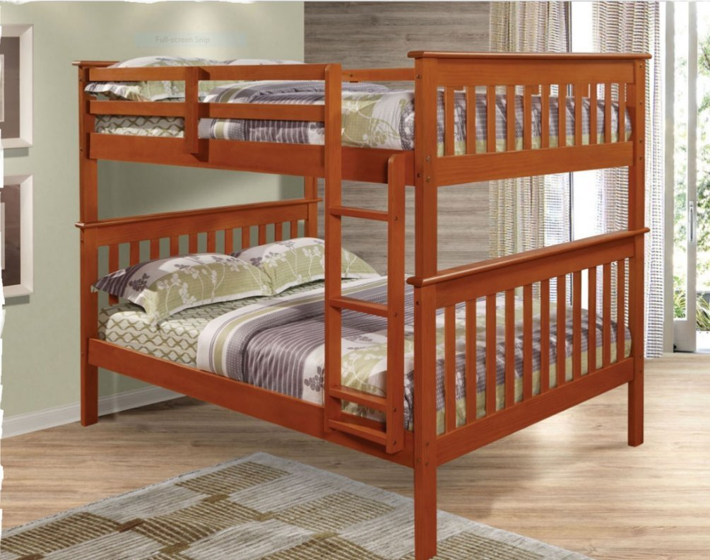 F/F MISSION BUNK BED - LIGHT ESPRESSO