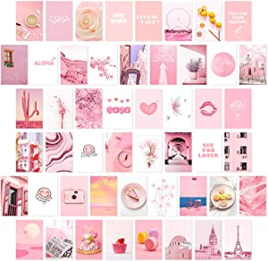 Collage Kit, Aesthetic Wall Collage Kit, Pink Aesthetic Posters for Wall Collage, Aesthetic Pictures, Room Decor for Teen Girls,UNFRAMED (50 Set 4x6 inch)